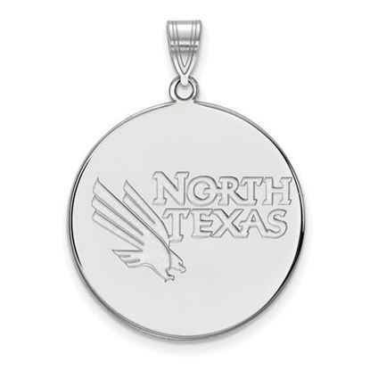 Picture of University of North Texas Mean Green 10k White Gold Extra Large Disc Pendant