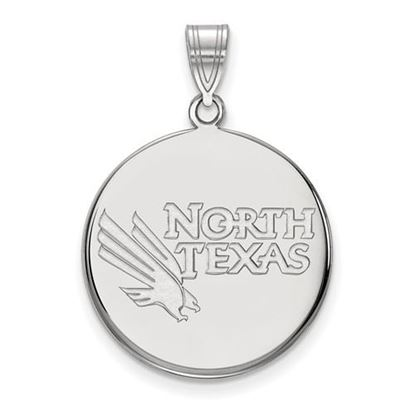 Picture of University of North Texas Mean Green 10k White Gold Large Disc Pendant