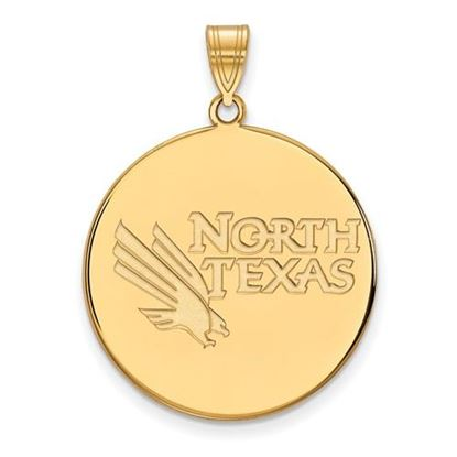 Picture of University of North Texas Mean Green 14k Yellow Gold Extra Large Disc Pendant