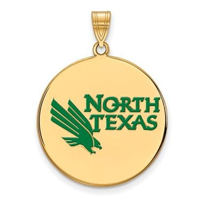 Picture of University of North Texas Mean Green Sterling Silver Gold Plated Extra Large Enameled Disc Pendant