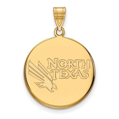 Picture of University of North Texas Mean Green Sterling Silver Gold Plated Large Disc Pendant