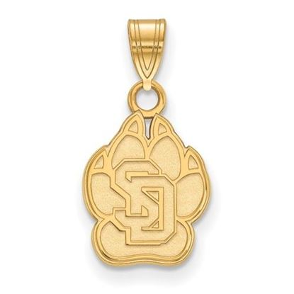 Picture of University of South Dakota Coyotes Sterling Silver Gold Plated Small Pendant