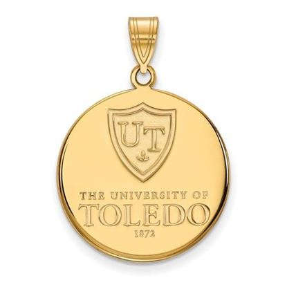 Picture of University of Toledo Rockets Sterling Silver Gold Plated Large Enameled Disc Pendant