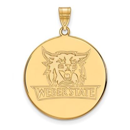 Picture of Weber State University Wildcats Sterling Silver Gold Plated Extra Large Disc Pendant