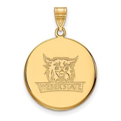 Picture of Weber State University Wildcats Sterling Silver Gold Plated Large Disc Pendant