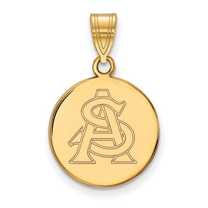 Picture of Arizona State University Sun Devils Sterling Silver Gold Plated Medium Disc Pendant