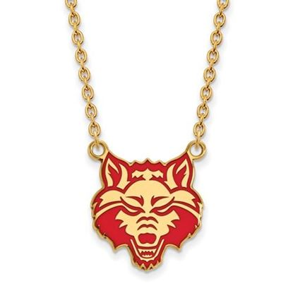 Picture of Arkansas State University Red Wolves Sterling Silver Gold Plated Enameled Large Necklace