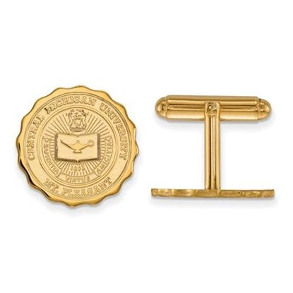 Picture of Central Michigan University Chippewas Sterling Silver Gold Plated Crest Cuff Links