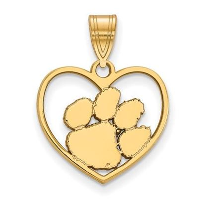 Picture of Clemson University Tigers Sterling Silver Gold Plated Heart Pendant