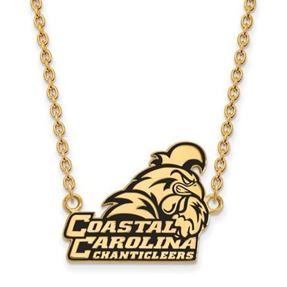 Picture of Coastal Carolina University Chanticleers Sterling Silver Gold Plated Large Enameled Necklace