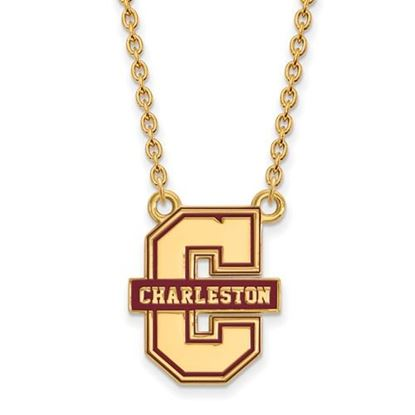 Picture of College of Charleston Cougars Sterling Silver Gold Plated Large Enameled Necklace