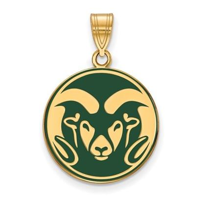 Picture of Colorado State University Rams Sterling Silver Gold Plated Large Enameled Pendant