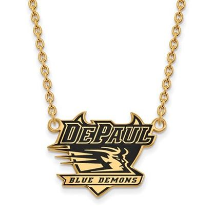 Picture of DePaul University Blue Demons Sterling Silver Gold Plated Enameled Large Necklace