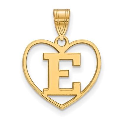 Picture of Eastern Michigan University Eagles Sterling Silver Gold Plated Heart Pendant