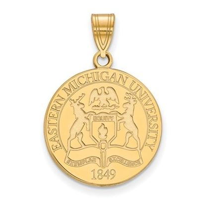 Picture of Eastern Michigan University Eagles Sterling Silver Gold Plated Large Crest Pendant