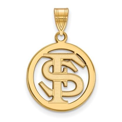Picture of Florida State University Seminoles Sterling Silver Gold Plated Small Circle Pendant