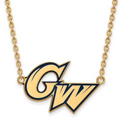 Picture of The George Washington University Colonials Sterling Silver Gold Plated Large Enameled Pend Necklace