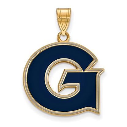 Picture of Georgetown University Hoyas Sterling Silver Gold Plated Large Enameled Pendant