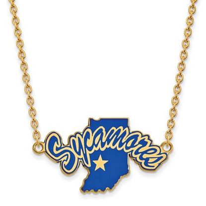 Picture of Indiana State University Sycamores Sterling Silver Gold Plated Large Enameled Necklace
