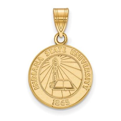 Picture of Indiana State University Sycamores Sterling Silver Gold Plated Medium Crest Pendant