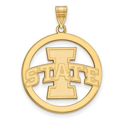 Picture of Iowa State University Cyclones Sterling Silver Gold Plated Large Circle Pendant