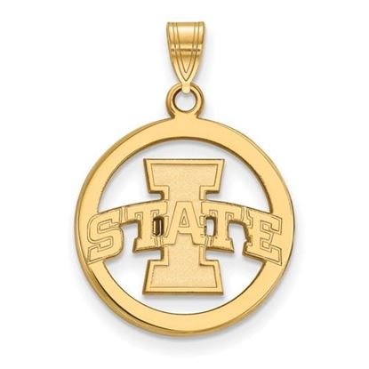 Picture of Iowa State University Cyclones Sterling Silver Gold Plated Small Circle Pendant