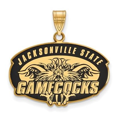 Picture of Jacksonville State University Gamecocks Sterling Silver Gold Plated Large Enameled Pendant