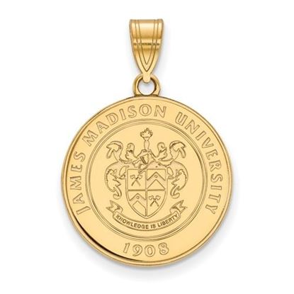 Picture of James Madison University Dukes Sterling Silver Gold Plated Large Crest Pendant