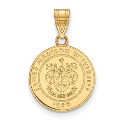 Picture of James Madison University Dukes Sterling Silver Gold Plated Medium Crest Pendant