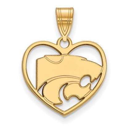 Picture of Kansas State University Wildcats Sterling Silver Gold Plated Heart Pendant