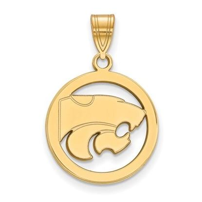 Picture of Kansas State University Wildcats Sterling Silver Gold Plated Small Circle Pendant