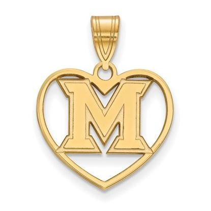 Picture of Miami University Redhawks Sterling Silver Gold Plated Heart Pendant