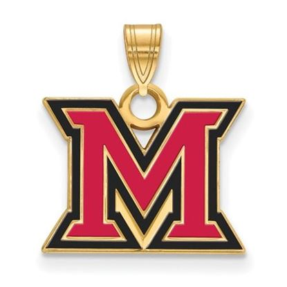 Picture of Miami University Redhawks Sterling Silver Gold Plated Small Enameled Pendant