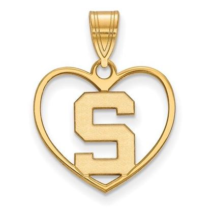 Picture of Michigan State University Spartans Sterling Silver Gold Plated Heart Pendant