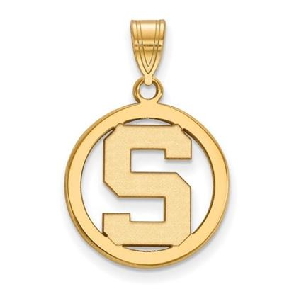 Picture of Michigan State University Spartans Sterling Silver Gold Plated Small Circle Pendant