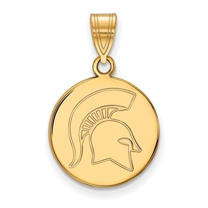 Picture of Michigan State University Spartans Sterling Silver Gold Plated Medium Disc Pendant