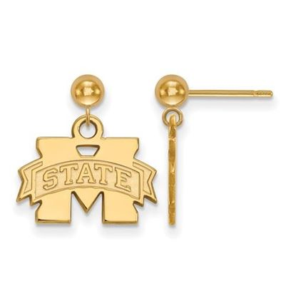 Picture of Mississippi State University Bulldogs Sterling Silver Gold Plated Dangle Earrings