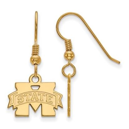 Picture of Mississippi State University Bulldogs Sterling Silver Gold Plated Extra Small Dangle Earring
