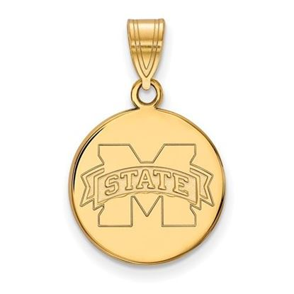 Picture of Mississippi State University Bulldogs Sterling Silver Gold Plated Medium Disc Pendant