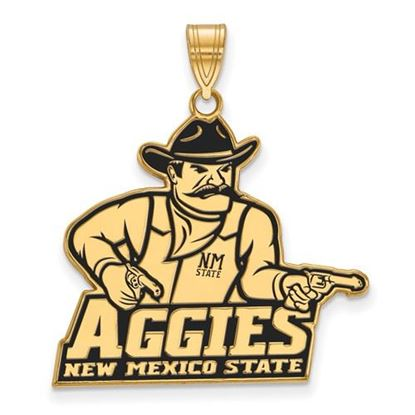 Picture of New Mexico State University Aggies Sterling Silver Gold Plated Extra Large Enameled Pendant