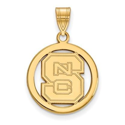 Picture of North Carolina State University Woldpack Sterling Silver Gold Plated Small Circle Pendant