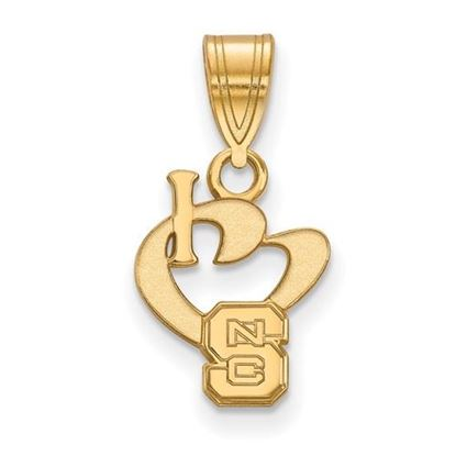 Picture of North Carolina State University Woldpack Sterling Silver Gold Plated Small I Love Logo Pendant