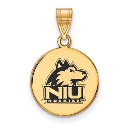 Picture of Northern Illinois University Huskies Sterling Silver Gold Plated Medium Enameled Disc Pendant