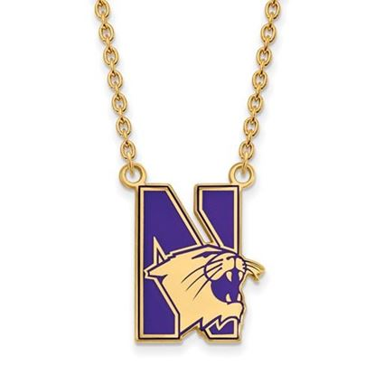 Picture of Northwestern University Wildcats Sterling Silver Gold Plated Large Enameled Necklace