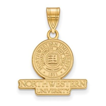 Picture of Northwestern University Wildcats Sterling Silver Gold Plated Medium Crest Pendant