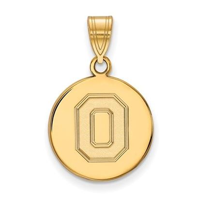Picture of Ohio State University Buckeyes Sterling Silver Gold Plated Medium Disc Pendant
