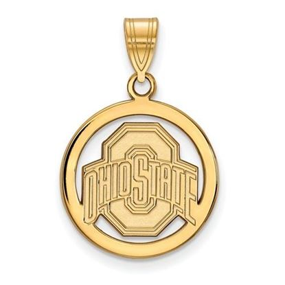 Picture of Ohio State University Buckeyes Sterling Silver Gold Plated Small Circle Pendant