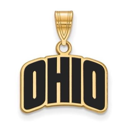 Picture of Ohio University Bobcats Sterling Silver Gold Plated Small Enameled Pendant