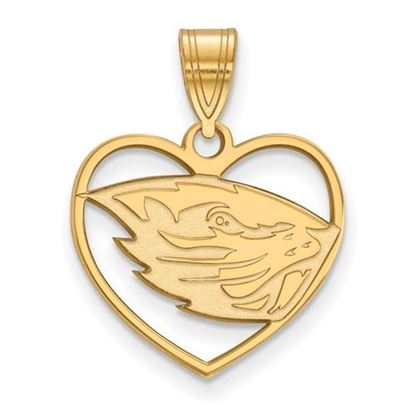 Picture of Oregon State University Beavers Sterling Silver Gold Plated Heart Pendant