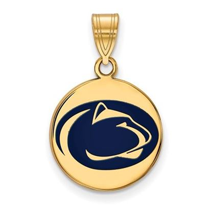 Picture of Penn State University Nittany Lions Sterling Silver Gold Plated Medium Enameled Disc Pendant